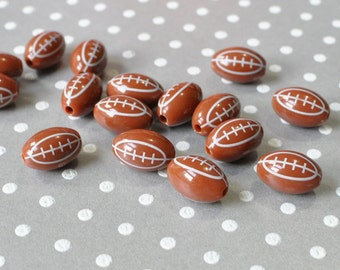 Football beads, Football bubblegum beads set of 10 pieces, Beads for childrens jewelry, Beads for chunky style necklaces, Large plastic bead