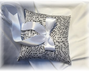 White Musical Note Wedding Ring Pillow, Musical Theme Wedding Pillow, Musical Note Wedding Theme