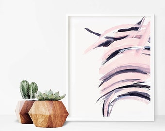 Pink and Black Abstract Paint Strokes, Instant Digital Download, 8x10