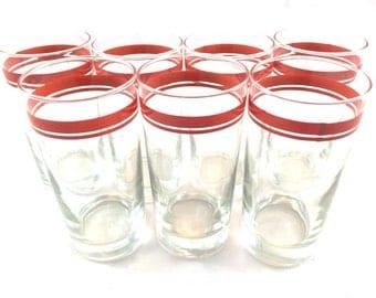 Set of 7 retro orange pinstripe glasses