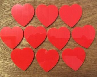 Red Acrylic Heart Shapes