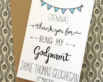 Personalised Thank You Godparent Card- A5 with Kraft Brown Envelope included- Blue or Pink Bunting- Name of Child & Godparent- Christening
