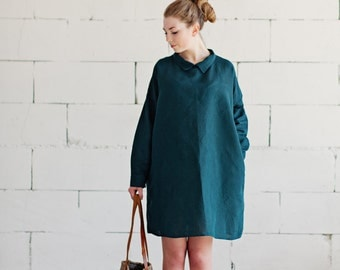 100% Green Linen Dress, hand made in London, sustainable, artisan, fashion