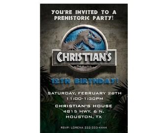 Jurassic Park Birthday Invitation Jurassic Park Invitation