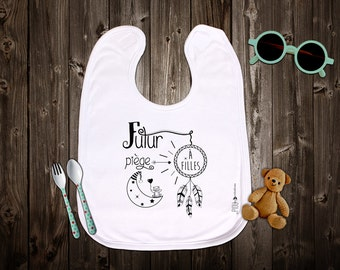 """Customizable original bib """"Future good girls"""". Birth gift. Baby gift. Text and graphics by Piou creations."""