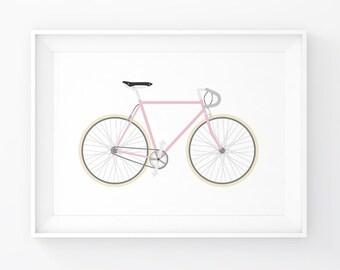 Bicycle Print, Bike Decor, Bike Decal, Bicycle Wall Art, Bike Print, Bike Art, Bike Poster, Girl Nursery, Pink Artwork, Girl Decal, Pink Art