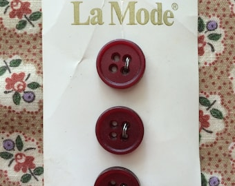 "Vintage New 3 Burgundy Red Round Buttons 1/2"" wide On Card Plastic by La Mode"