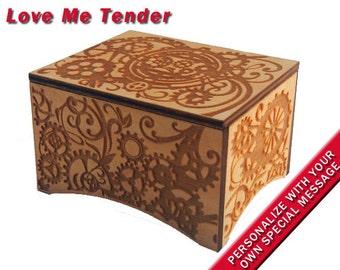 "Windup Steampunk Music Box, ""Love Me Tender"", Laser Engraved Birch Wood"