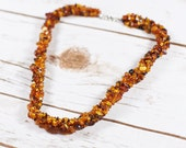 Genuine Natural Baltic Amber Necklace Raw Unpolished Cognac Beads Silver Clasp Free USA Australia Shipping N0061