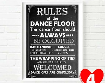 Chalkboard Style Wedding Signs-Rules of the Dance Floor
