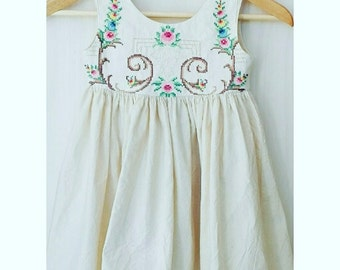 Gorgeous calico and linen babydoll dress