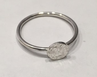 Hammer Disc Ring - Silver