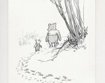 Pooh and Piglet go hunting - classic style poster print - Winnie the Pooh - copy of original illustration by E.H. Shepard #32