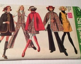 """1969 Simplicity Pattern 8353 14 Pieces Misses Cape, Vest, Skirt and Pants Size 10 Bust 32 1/2"""""""