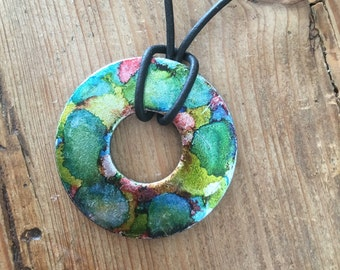 Metal Washer Ink Dyed Necklace