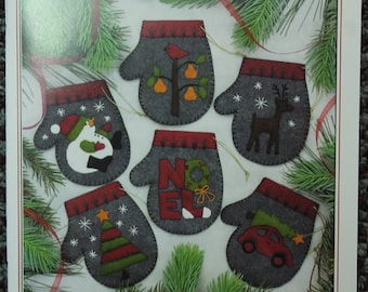 """NEW Christmas Ornament KIT PATTERN """"Charcoal Mittens"""""""