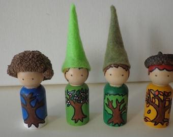 Seasons Gnome Peg Dolls Waldorf Nature Table
