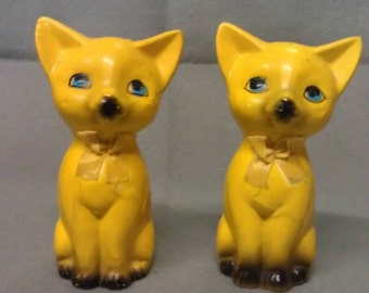 Yellow Cats with Grey Feet and Nose Cat Salt and Pepper Shaker Set