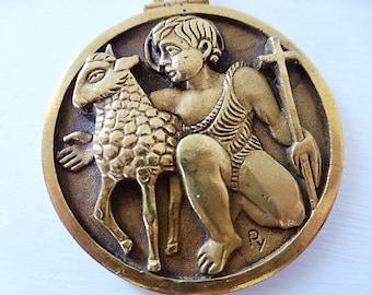 Rare Antique French, Medallion, Pendant, John the Baptist, Agnus Dei, Fernand Py, SHIPPING INCLUDED