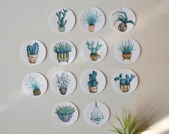 Cacti & Succulents Sticker - Set of 13