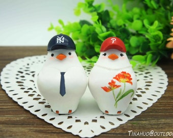 Love Bird Baseball Wedding Cake Toppers-Phillies Bride And Yankees Groom Cake Toppers Sports Theme