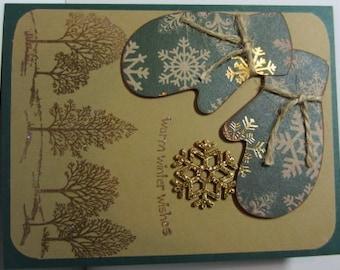Handmade Christmas Mittens Card