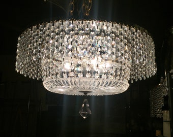 Vintage Crystal and Crystal Plate Chandelier