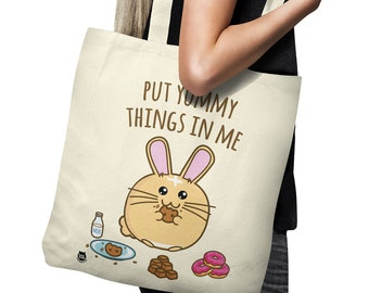 Put Yummy Things In Me Shopper Tote Bag Rabbit Bunny Sweets Candy Donuts Cute Adorable Cotton Fuzzballs  Gift Idea Present