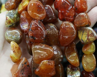 Polished Raw/ Rough Natural Agate Semi Precious Stone Nuggets Beads, Red and Orange Color Agate Freedom Beads
