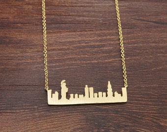 New York City Skyline Necklace NYC Outline Landscape USA Brass Bar Pendant Handmade Jewelry Souvenir Gift BN570-G
