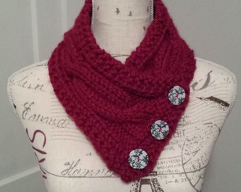 Hand Knit Crimson Cabled Cowl