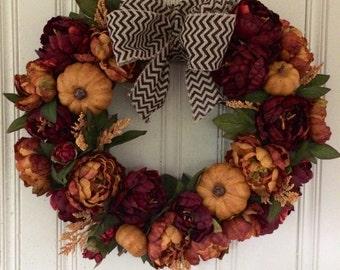 Fall Wreath, Autumn Wreath, Thanksgiving Wreath, Chevron Wreath, Pumpkin Wreath, Everyday Wreath, Rustic Wreath, Fall Home Decor, Home Decor