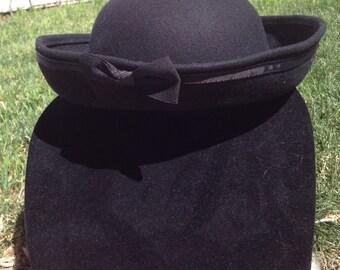 Vintage Small Womens Bollman Black Hat 100% Wool