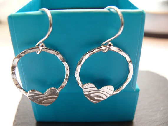 Heart Hoops Handmade Sterling Silver Dangle Earrings