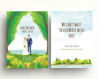 Lakeside wedding, Custom illustrated save the dates, portrait ,wedding invitation