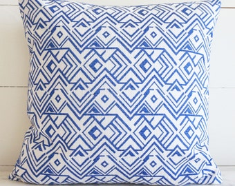 Blue and White Geometric Embroidered Pattern Pillow Cover 16x16