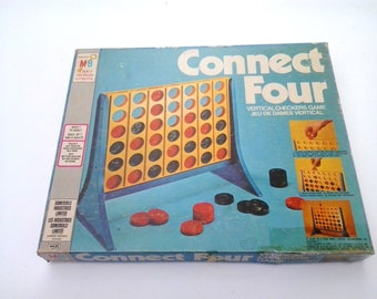 Vintage strategy game 1979 connect four vertical checkers game by Milton Bradley. VG Condition. Complete. Satisfaction guaranteed.