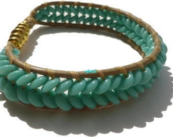 Wrap bracelet with turquoise beads and leather
