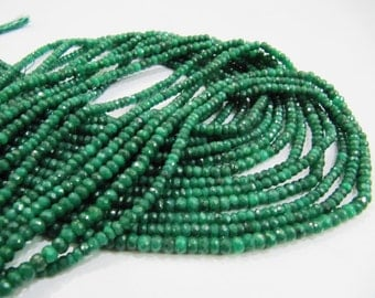 Best Quality Emerald beads 3.5 to 5mm/ Strand 16 inch Long/ Precious Gemstone Beads/ Micro Faceted/ Sold Per Strand