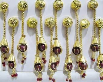 Beautiful Long earrings/Metal Beaded Jewelry Gold Plated / Earring with Hanging Garnet Beads / Unbelievable Prices