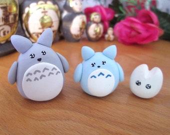 Trio of Russian dolls matryoshka version Totoro in Fimo