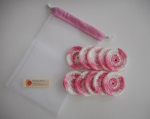 Pink Face Scrubbies Set with Drawstring Mesh Bag