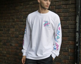 Colourful 90s Geometric Pattern White Long Sleeved T-shirt