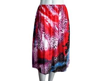 Tie Dye Safari Midi Skirt With Pockets - Animal Print Skirt - Elastic Waist Skirt - Maternity Skirt - High Waist Skirt - Gathered Skirt