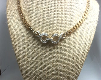 Fabulous vintage PANETTA gold tone front closing crystal necklace