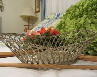 Vintage Country Decor Silver Plate Wire Bread, Wine, Bathroom, or Easter Basket - Unique Gift Idea