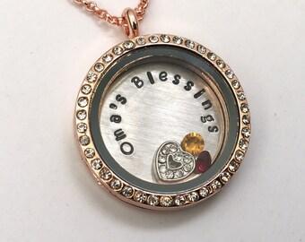 OMA'S BLESSINGS - Rose Gold Edge or Custom Floating Charm Locket - Memory Locket - Custom Hand Stamped Gift for Oma