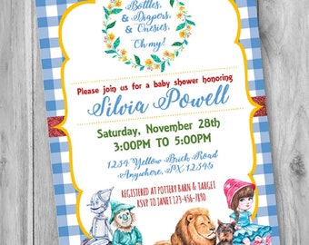 ON SALE! Wizard of Oz Baby Shower Invitation, Wizard of Oz Baby Shower Invite, Wizard of Oz Baby Shower, Wizard of Oz, Dorothy Baby shower