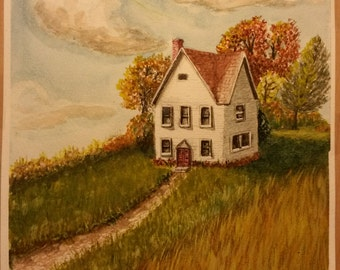 Little White House  on a grassy sunshiny Hill