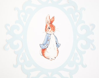Peter Rabbit Paper Vintage Frame  Party decor  Wall Decor